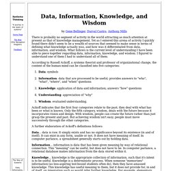 Data, Information, Knowledge, & Wisdom