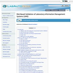 Risk Based Validation of Laboratory Information Management Systems (LIMS) - LabAutopedia