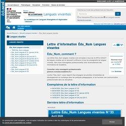 Lettre d'information Édu_Num Langues vivantes — Langues vivantes