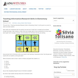 Teaching Information/Research Skills in Elementary School