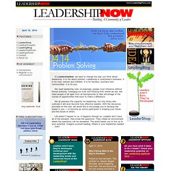 Leadership Development - News and Issues @ LeadershipNow.com