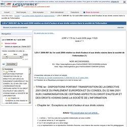LOI n° 2006-961 du 1er août 2006 relative au droit d'auteur et aux droits voisins dans la société de l'information