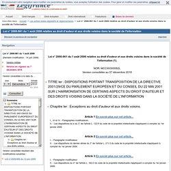 D'ADVSI Loi n° 2006-961 du 1 août 2006 relative au droit d'auteur et aux droits voisins dans la société de l'information