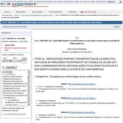 2006-961 du 1er août 2006 relative au droit d'auteur et aux droits voisins dans la société de l'information