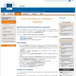 EUROPE - Food information to consumers - legislation.