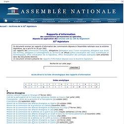 Assemblée nationale : Rapports d'information / 11ème législature