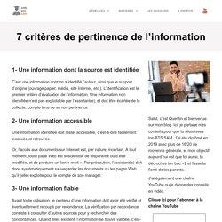 7 critères de pertinence de l'information - BTS Support à l'Action Managériale