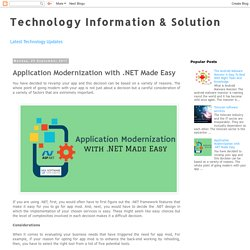Technology Information & Solution: Application Modernization with .NET Made Easy