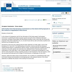 Information from the European Commission on the latest draft proposals in the context of negotiations with Greece