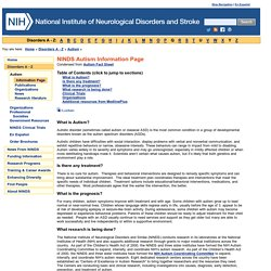Autism Information Page: National Institute of Neurological Disorders and Stroke (NINDS)