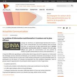 Le système d'information nutritionnelle à 5 couleurs est le plus efficace - Actalia