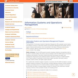 Program: Information Systems and Operations Management - University of Florida - Acalog ACMS™
