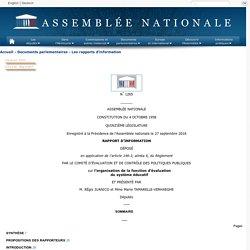 N°1265 - Rapport d'information de M. Régis Juanico et Mme Marie Tamarelle-Verhaeghe déposé en application de l'article 146-3 du règlement, par le comité d'évaluation et de contrôle des politiques publiques sur l'organisation de la fonction d'évaluation d