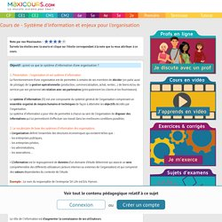 Cours de - Système d'information et enjeux pour l'organisation