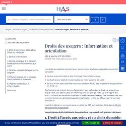 Droits des usagers : Information et orientation