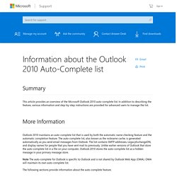 Information about the Outlook 2010 Auto-Complete list
