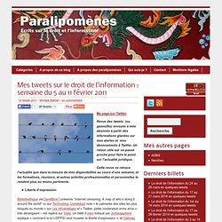 Blog Archive » Mes tweets sur le droit de l'information : semaine du 5 au 11 février 2011