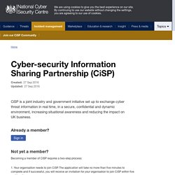Cyber-security Information Sharing Partnership (CiSP) - NCSC Site