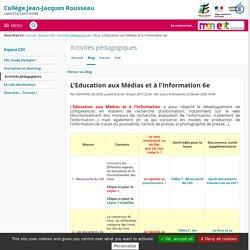 Progression 6e - Activités pédagogiques - Collège Jean-Jacques Rousseau