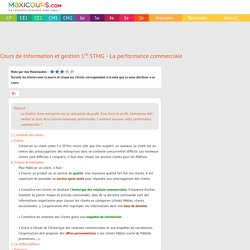 Cours de Information et gestion 1re STMG - La performance commerciale