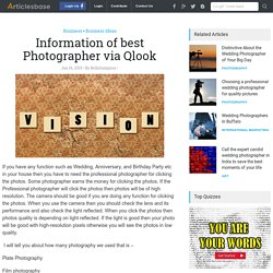 Information of best Photographer via Qlook