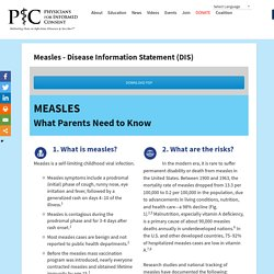 Measles – Disease Information Statement (DIS) – Physicians for Informed Consent
