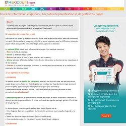 Cours de Information et gestion - Les outils de planification et de gestion du temps
