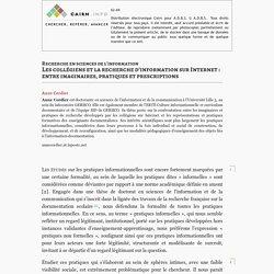 Les collégiens et la recherche d'information sur Internet : entre imaginaires, pratiques et prescriptions