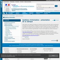 Systèmes d'information, TIC, Ressources pédagogiques, enseigner la gestion avec les TICE - Éducnet