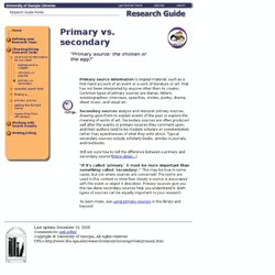 What kind of information: Primary vs. secondary