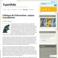 Chloé - L'éthique de l'information : enjeux et problèmes