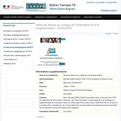 Initier les élèves au codage de l'information et à la programmation - 22/03/2016