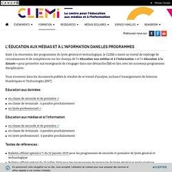 L'éducation aux médias et à l'information dans les programmes- CLEMI
