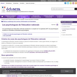 Services d'information et d'orientation - Les psychologues de l'éducation nationale