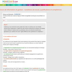 Cours de Information et gestion - Conditions de travail, qualifications et co...