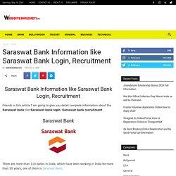 Saraswat Bank Information like Saraswat Bank Login, Recruitment
