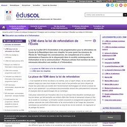 Éducation aux médias et à l'information - L'EMI dans la loi de du 8 juillet 2013 d'orientation et de programmation pour la refondation de l'école de la République
