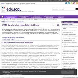 Éducation aux médias et à l'information - L'EMI dans la loi de refondation de l'École