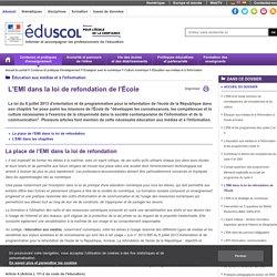 L'EMI dans la loi de refondation de l'École
