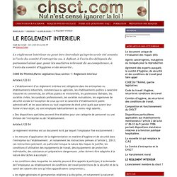 le site d'information des élus et représentants du personnel : LE REGLEMENT INTERIEUR