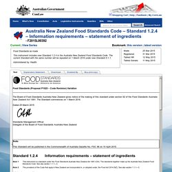 Australia New Zealand Food Standards Code – Standard 1.2.4 – Information requirements – statement of ingredients