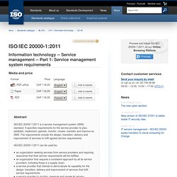 IEC 20000-1:2011 - Information technology -- Service management -- Part 1: Service management system requirements
