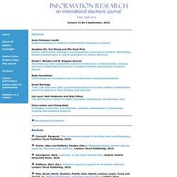 Information Research - Contents - Vol. 21 No. 3