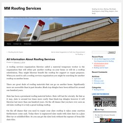 All Information About Roofing Services