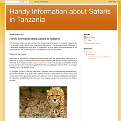 Handy Information about Safaris in Tanzania