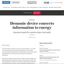 Demonic device converts information to energy