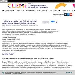 Traitement médiatique de l'information scientifique : l'exemple des neutrinos- CLEMI