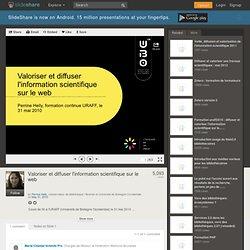 Valoriser et diffuser l'information scientifique sur le web