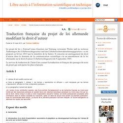 Traduction française du projet de loi allemande modifiant le droit d'auteur