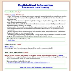 Word Information - search results for: Family